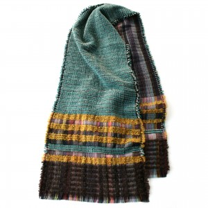 Scarf.Wool crepe and chenille wrap.HOWARD.01