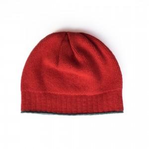 Katie Mawson Ribbed Beanie Hat - Red / Grey