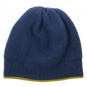 Katie Mawson Ribbed Beanie Hat - Blue / Yellow