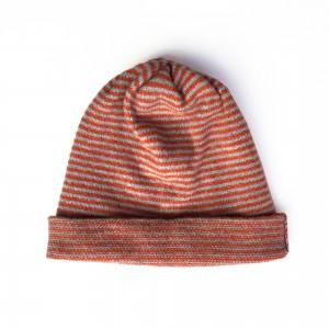 Katie Mawson Striped Beanie Hat - Orange / Grey