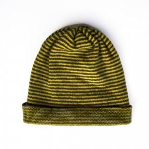 Katie Mawson Striped Beanie Hat - Yellow / Olive
