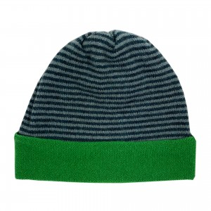 Striped Beanie Hat - Blue / Green