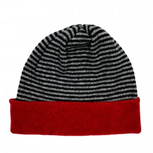 Striped Beanie Hat - Charcoal / Red