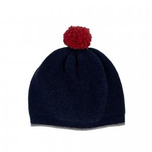 Pom-pom Beanie Hat - Navy / Red