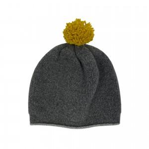 Pom-pom Beanie Hat - Grey / Yellow